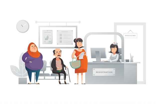 Регистрация в больнице иллюстрация концепция Premium векторы