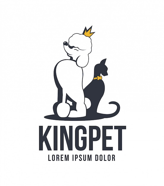 キングペットロゴ Premiumベクター