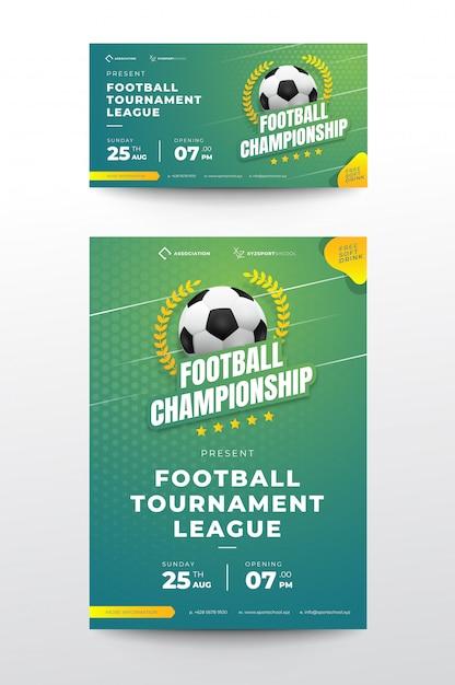 Футбольный турнир баннер Premium векторы