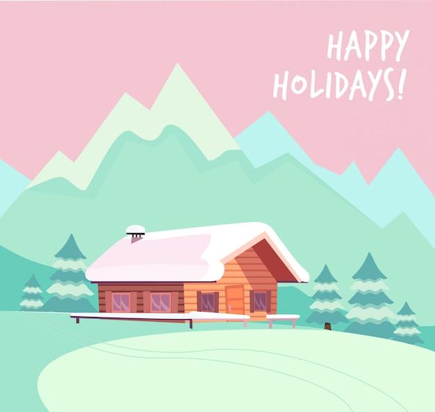 山と木のログカントリーハウスと冬の雪の風景。 Premiumベクター