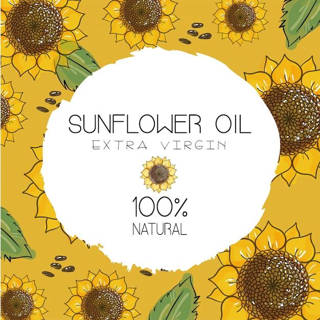 ひまわり油、ひまわり包装、天然化粧品、ヘルスケア製品。黄土色の黄色の背景に種子と描かれた花を手します。 Premiumベクター