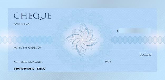 Шаблон чека или чековой книжки. пустой синий банковский чек с гильошированный узор розетка и абстрактный водяной знак. Premium векторы