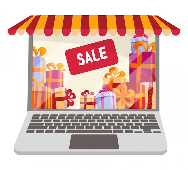 オンラインショッピングや販売のためのフラット漫画ベクトル図が分離されました。ノートパソコンはストライプキャノピー、日除け、テントと店の窓として装飾されています。 Premiumベクター