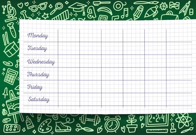 Школьное расписание шаблона расписания занятий на клетчатом листе. еженедельные планы уроков на зеленой доске. Premium векторы