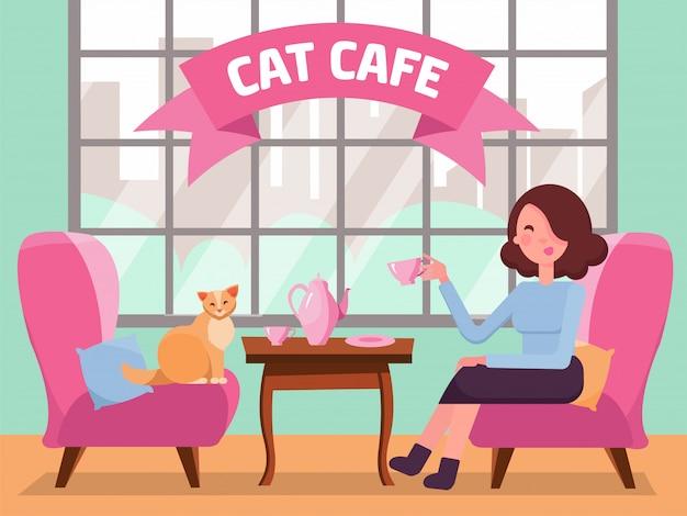 大きな窓、女性とキティの快適な椅子、テーブルの上のコーヒーと猫カフェのインテリア。少女と猫のお茶会。ペットと過ごす時間。ミントピンク色のフラット漫画ベクトル図 Premiumベクター