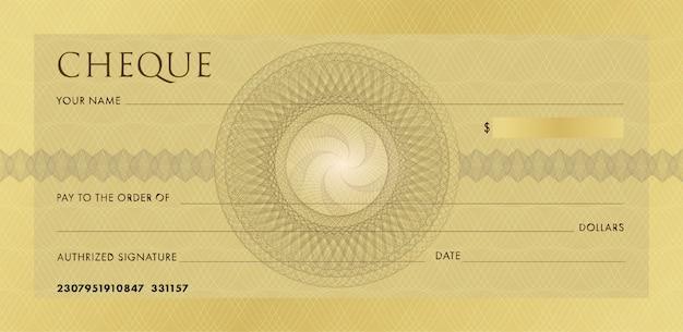 小切手または小切手帳のテンプレート。ギョーシェロゼットと抽象的な透かしと空白の金のビジネス銀行小切手。 Premiumベクター