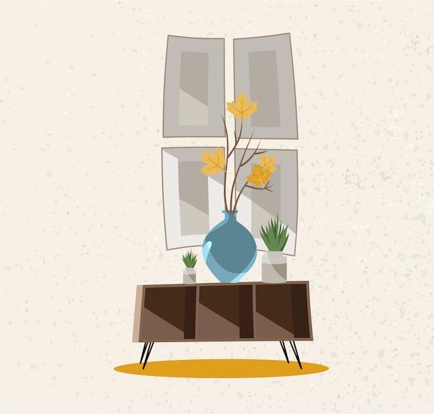 インテリア家具グループ。ガラス花瓶のあるコーヒーテーブル。大まかな質感のベージュの壁。 Premiumベクター