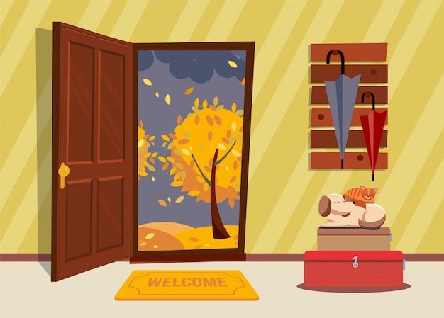 ドアが開いた廊下のインテリア、傘と寝ている犬とスーツケースの上に猫がいるコートラック。 Premiumベクター