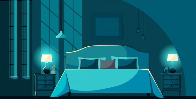 夜の家具、月明かりの下で多くの枕とベッドでベクトル寝室のインテリア。ベッドルームのインテリアナイトスタンド、照明ランプ、窓。フラット漫画スタイルのベクトル図。 Premiumベクター