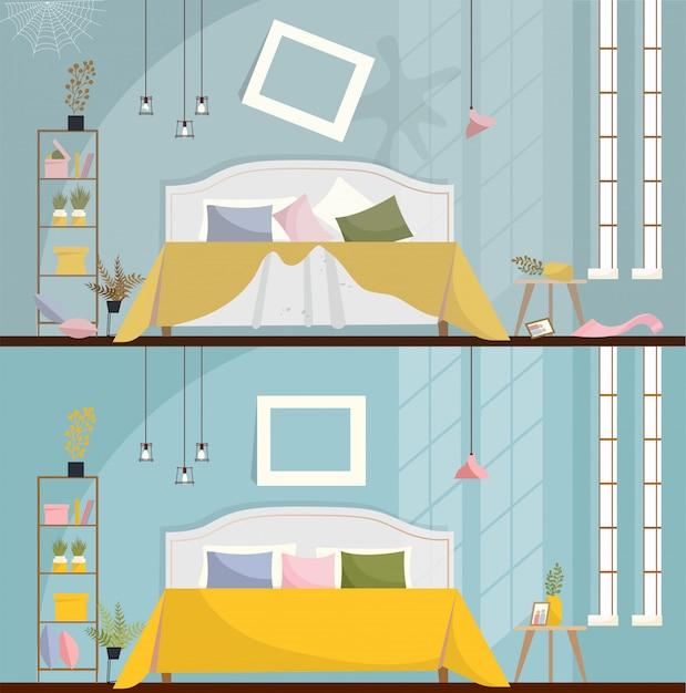清掃前後の寝室。散らばった家具やアイテムで汚れた部屋のインテリア。ベッド、ナイトスタンド、ワードローブ、大きな窓を備えたベッドルームのインテリア。フラット漫画スタイルのベクトル図。 Premiumベクター