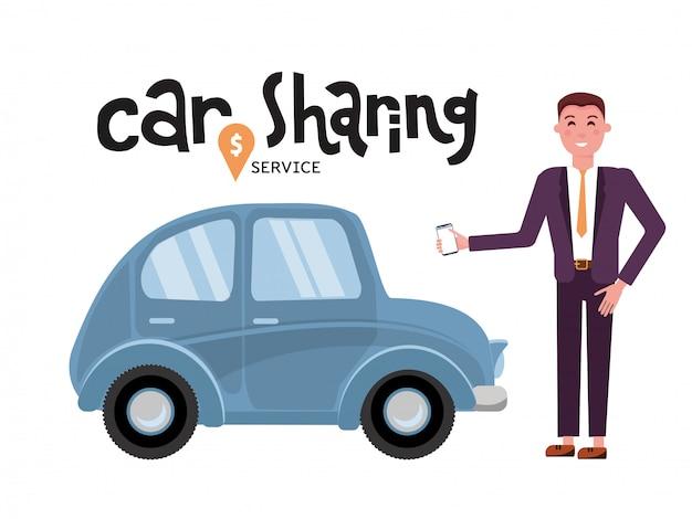 オンラインカーシェアリングサービス。ビジネスマンは、携帯電話のアプリで車を予約します。オンライン輸送サービス。 Premiumベクター