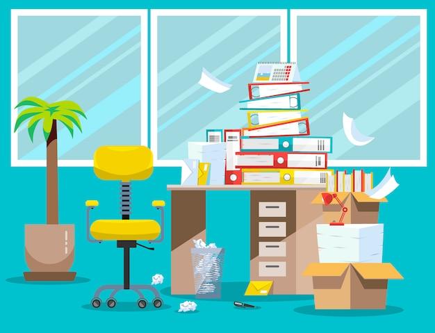 会計士および財務報告書の提出期間。オフィスのテーブルの上の段ボール箱に紙文書とファイルフォルダーの山。フラットベクトルイラスト窓、椅子、ゴミ箱 Premiumベクター