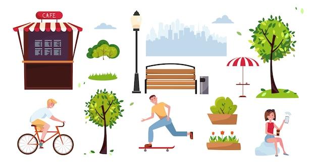 Цветные элементы городского парка для общественных мест со спортивными людьми, велосипедистом, скейтером, уличным кафе. объекты городского парка летних пейзажей. векторная иллюстрация плоский мультфильм. элементы городского наружного декора. Premium векторы