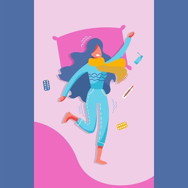 風邪、インフルエンザの症状を持つベッドで病気の若い女性。 Premiumベクター