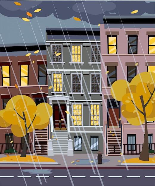 Осенний дождливый город улица ночью. Premium векторы