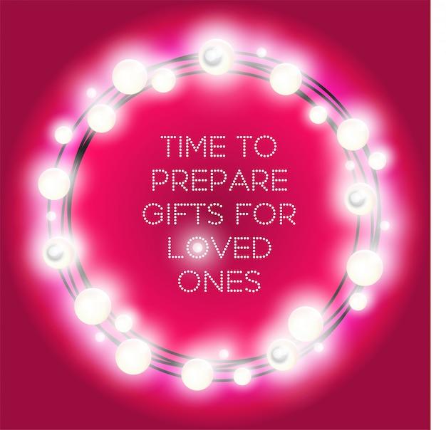 Круглая рамка рождественские огни. красочный круг гирлянд на пурпурный Premium векторы
