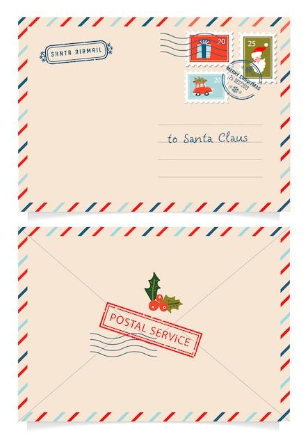 切手と切手とサンタクロースへの手紙 Premiumベクター