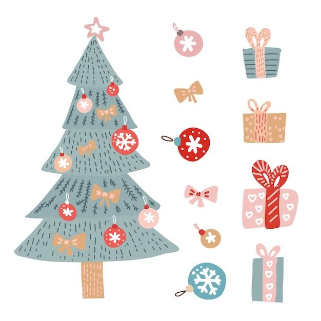 孤立した装飾的な冬のオブジェクトで設定されたクリスマスの挨拶 Premiumベクター