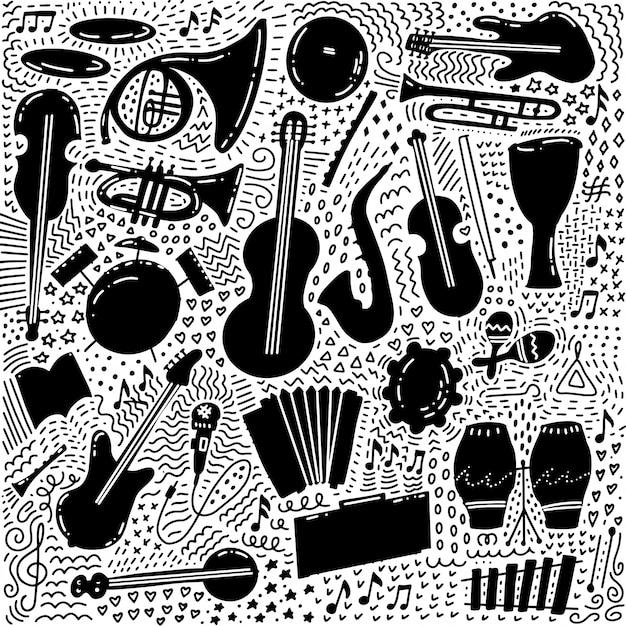 Набор рисованной музыкальной темы на белом фоне, черный каракули набор музыкальных инструментов темы. Premium векторы