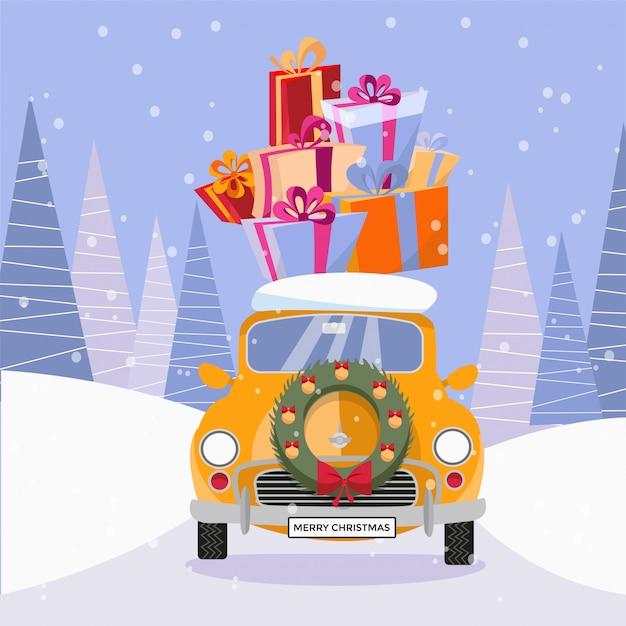 Ретро-автомобиль с подарками и елкой на вершине Premium векторы