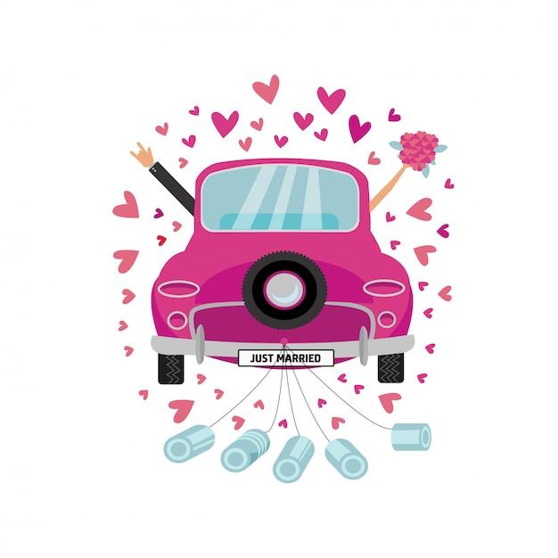 新婚カップルは缶が付いている彼らの新婚旅行のためのヴィンテージのピンクの車を運転しています。 Premiumベクター