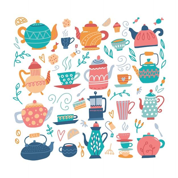 Чайник рисованной большой набор с чашки и сладости. Premium векторы