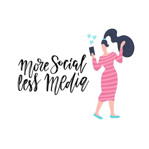 Ручной обращается надписи карты с женщиной, с помощью мобильного телефона. надпись - больше социальных сетей меньше. Premium векторы