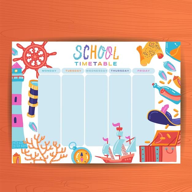 かわいいカレンダー週間プランナーテンプレート。海洋のテーマイラスト。主催者とスケジュール時刻表レッスン Premiumベクター