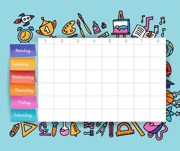 ステッカー付きカレンダースケジュール。学校計画またはスケジュール作業ベクトルボリュームイラスト。生徒と生徒のためのテンプレートスクールタイムテーブル。 Premiumベクター