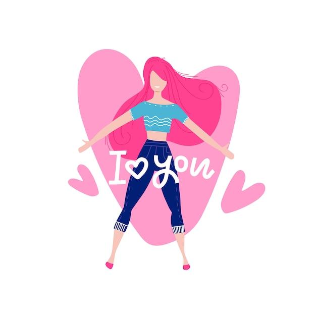 第七天国の幸せな女性キャラクター。大きな心の背景に高騰。愛の女。バレンタインの日のテーマのグリーティングカード。 Premiumベクター