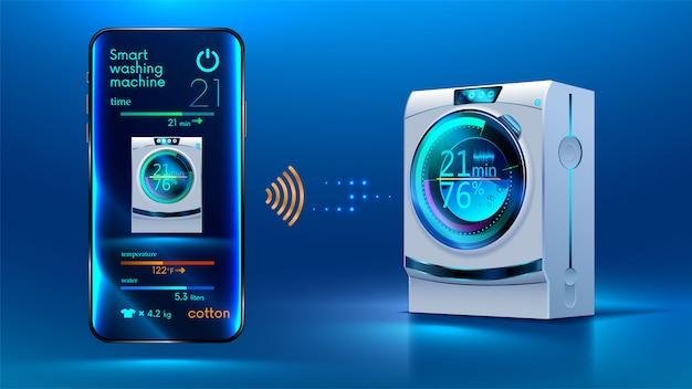 Управление смартфоном через беспроводное соединение через интернет с помощью умной стиральной машины Premium векторы