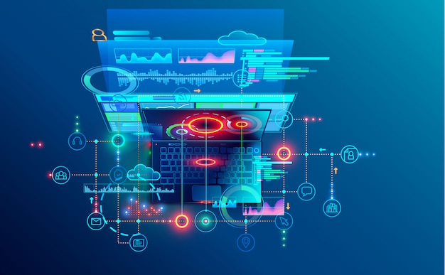 ソフトウェア開発コーディングプロセスの概念。プログラミング、クロスプラットフォームコードのテスト Premiumベクター