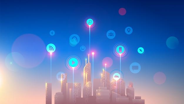 スマートサービスとアイコン、モノのインターネット、ネットワークを備えたスマートシティ Premiumベクター