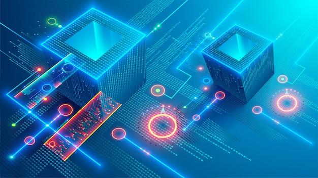 ブロックチェーンコンセプトバナー Premiumベクター