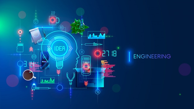 エンジニアリングアイデアコンセプト Premiumベクター