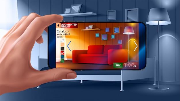仮想家具を実際の家に配置できるスマートフォンの拡張現実アプリケーション。 Premiumベクター
