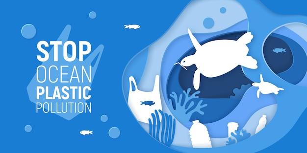 Концепция остановить океан пластического загрязнения. бумага вырезать подводный фон с пластиковым мусором, черепахами и коралловыми рифами. Premium векторы
