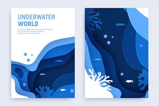 水中の海の抽象的なペーパーアートセット。紙は、波とサンゴ礁で水中の背景をカットしました。海の概念を保存します。クラフトのベクトル図 Premiumベクター