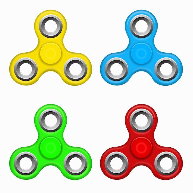ハンドフィジェットスピナーのおもちゃ - ストレスと不安の軽減。黄色、赤。青、緑のカラフルなスピナー。現代の子供用おもちゃ - 黄色、赤。青、緑のスピナー。 Premiumベクター