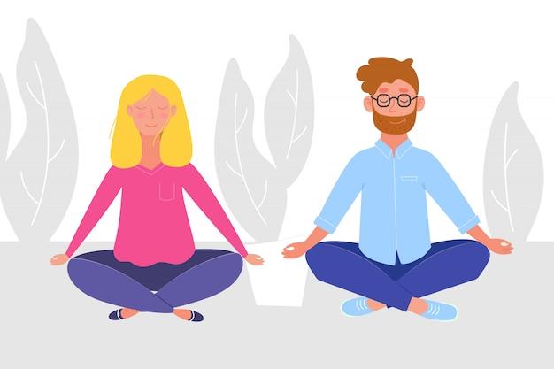 ヨガをやっている女性と蓮を訪ねて瞑想している女性がポーズします。 Premiumベクター