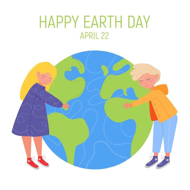 С днем земли баннер. маленький милый мальчик и девочка обнимают планету. Premium векторы