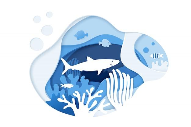 サメのダイビング。スキューバダイビング。紙アートサンゴ礁のコンセプトです。 Premiumベクター