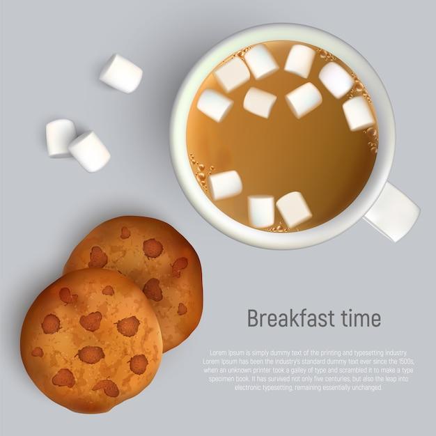 一杯のコーヒーとチョコレートとクッキー。上面図。一杯のコーヒーと朝食のクッキー Premiumベクター