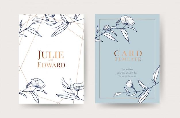豪華な結婚式の招待カードベクトル Premiumベクター