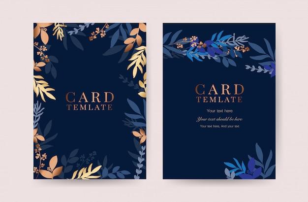 藍結婚式招待状カードベクトル Premiumベクター