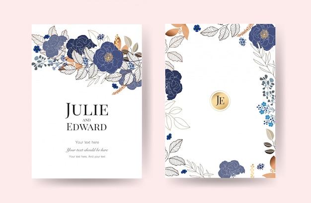 花の結婚式の招待カードベクトル Premiumベクター