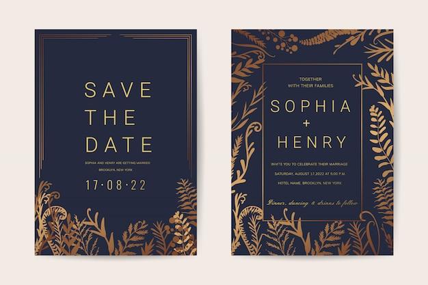 豪華な結婚式の招待状カードテンプレート花のビンテージスタイル。 Premiumベクター