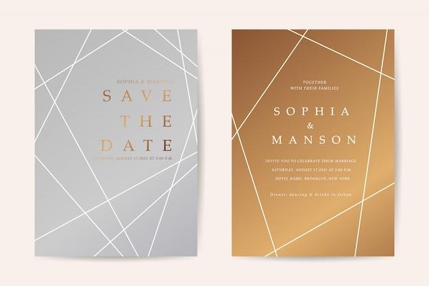 最小限の結婚式招待状カードベクトル Premiumベクター