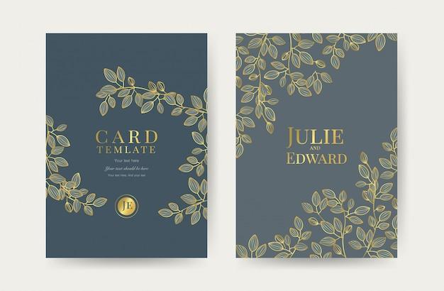 豪華な結婚式の招待状カードのテンプレート Premiumベクター