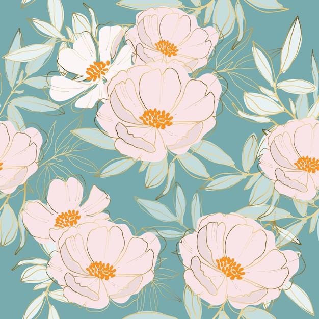 花と葉のシームレスパターン Premiumベクター